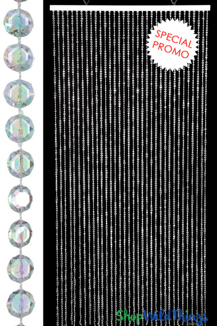"Diamonds ""Promo"" Beaded Curtain - Crystal Iridescent 6'"
