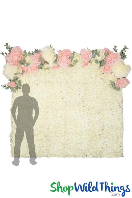 Flower Wall Kit - 8' X 8' Portable Backdrop Kit - Premium Cream Hydrangeas