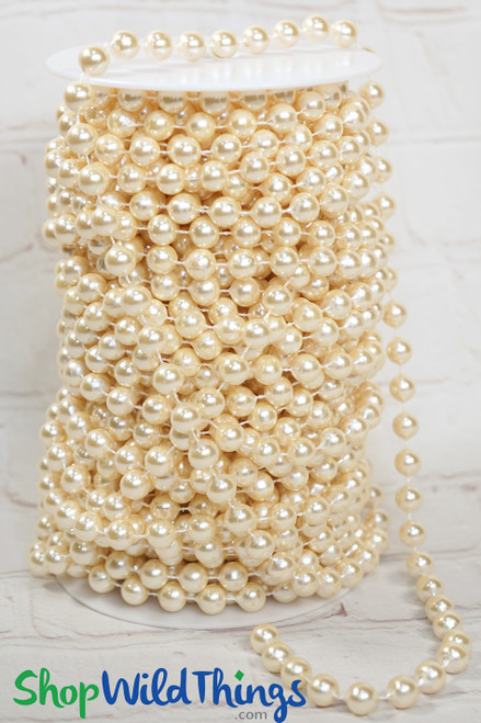 Roll of Beads PREMIUM WEIGHT - 22 Yards (66 Feet) Ivory Pearls 10mm Balls
