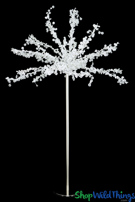 """Silver & Crystal Beaded Table Top Tree """"Arendelle"""" 2'W x 3'H"""