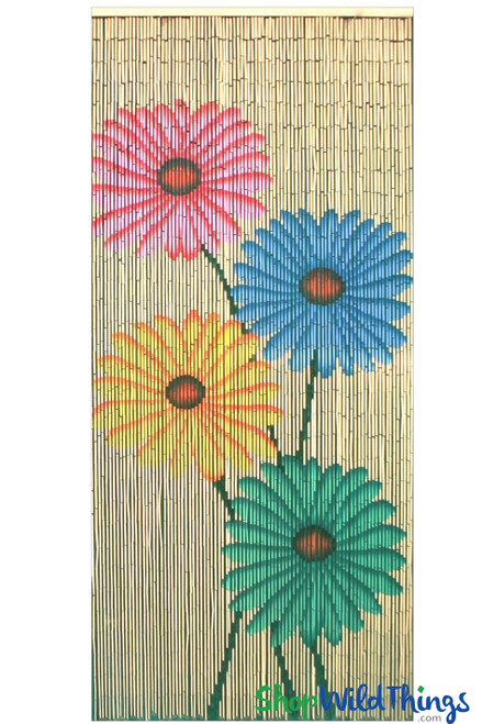 """Bamboo Painted Beaded Curtain """"Four Daisies"""" - 90 Strands"""