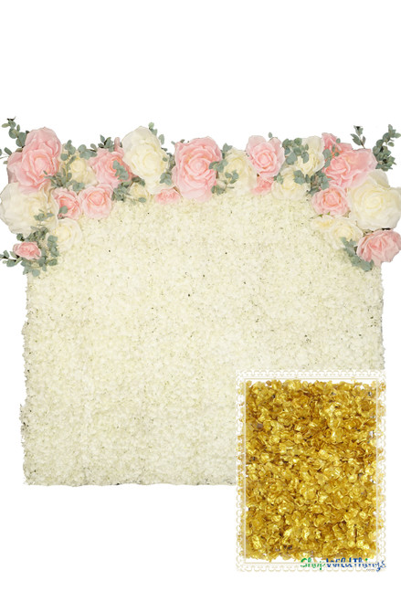 Flower Wall Kit - 8' x 8' Portable Backdrop Kit - Metallic Gold Hydrangeas