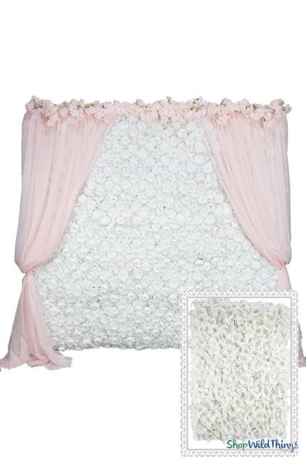COMING SOON! Flower Wall Kit - 8' x 8' Portable Backdrop Kit - Pure White Hydrangeas