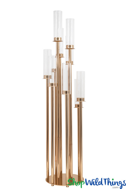 "Gold Stem Candelabra 10 Cylinder Cups - 42"" Tall Round Base"