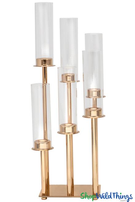 """Gold Stem Candelabra 6 Cylinder Cups - 22"""" Tall Rectangular Centerpiece"""