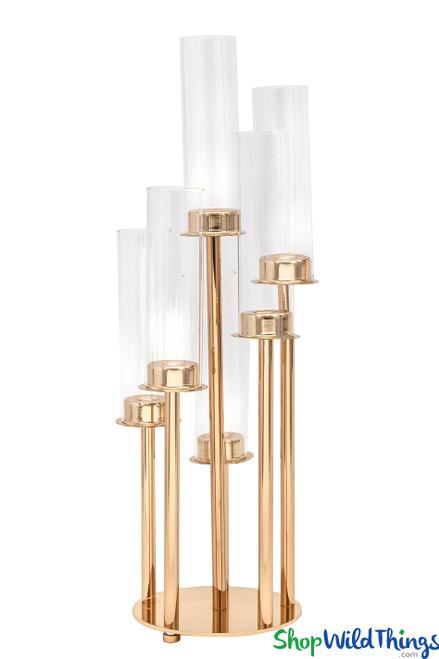 """Gold Stem Candelabra 6 Cylinder Cups - 22"""" Tall Round Centerpiece"""