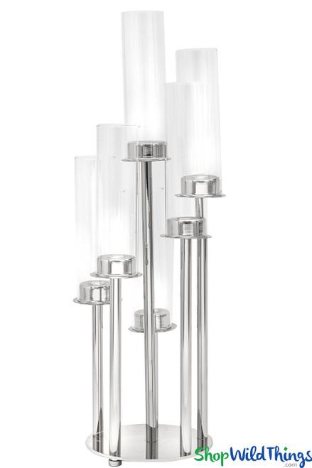 """Silver Stem Candelabra 6 Cylinder Cups - 22"""" Tall Round Centerpiece"""