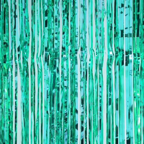 Metallic Foil Fringe Curtain - Aqua 8'