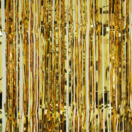 Metallic Foil Fringe Curtain - Gold - 8'