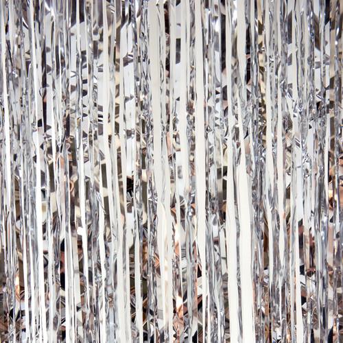 Metallic Foil Fringe Curtain - Silver 8'
