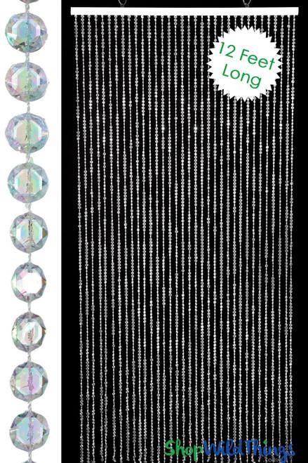 Diamond Crystal Iridescent Beaded Curtain 12 Feet Long