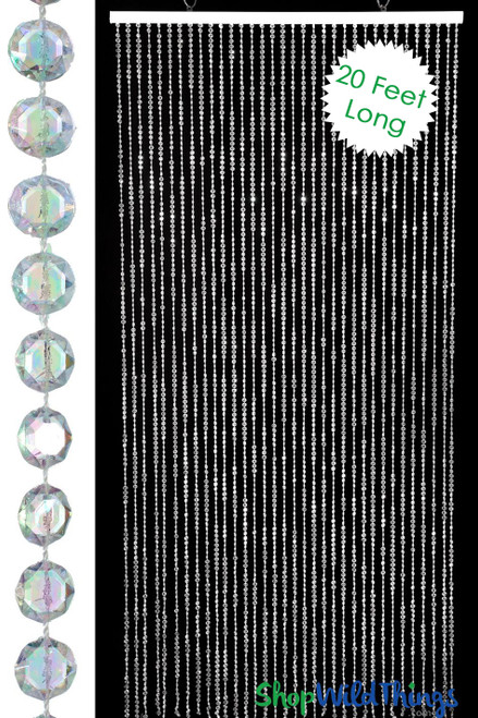 Diamond Crystal Iridescent Beaded Curtain 20 Feet Long