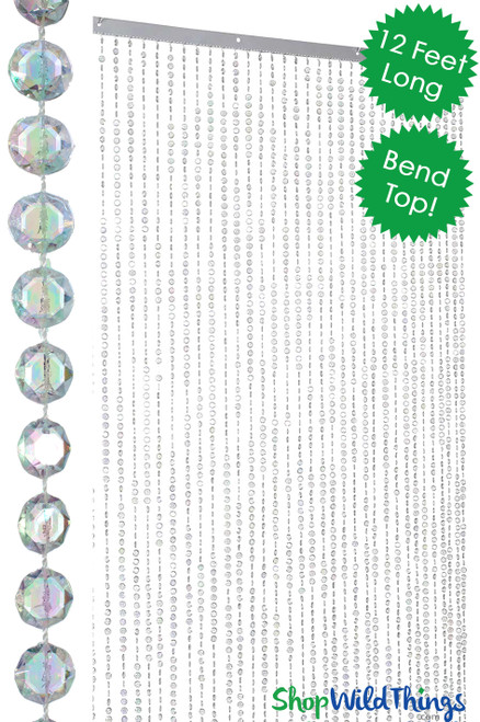 Diamonds Beaded Curtain - Bendable Top - Crystal Iridescent - 3 ft x 12 ft