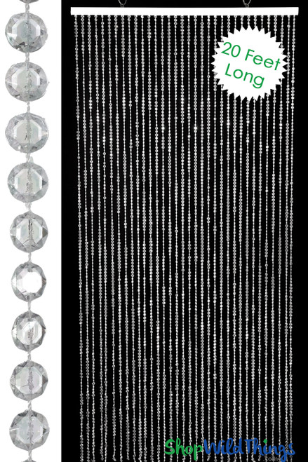 Diamonds Beaded Curtain - Crystal Non-Iridescent - 3 ft x 20 ft