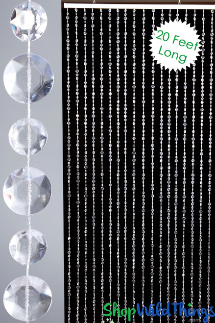 Diamante Duo Beaded Curtain - Crystal Non-Iridescent - 3 ft x 20 ft