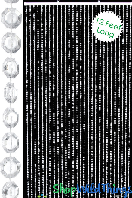 Brilliant Beaded Curtain - Clear Non-Iridescent - 3 ft x 12 ft