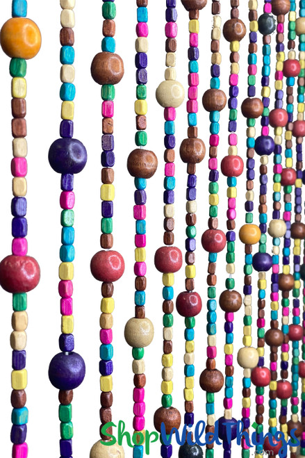Rainbow beaded curtain with wooden beads | Multi colored door, wall or window  covering | ShopWildThings.com