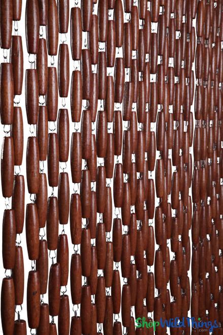 "Wooden Bead Curtain ""Oakland Dark Brown"" 35"" x 78""  40 Strands & Easy to Adjust"