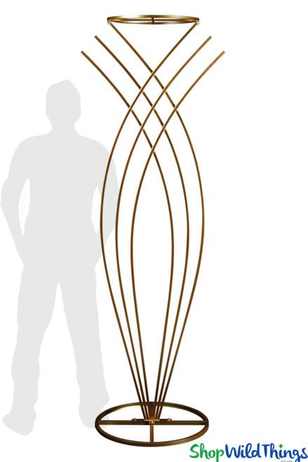 """Yasmin Gold"" Floral Riser Stand - 6' 10"""