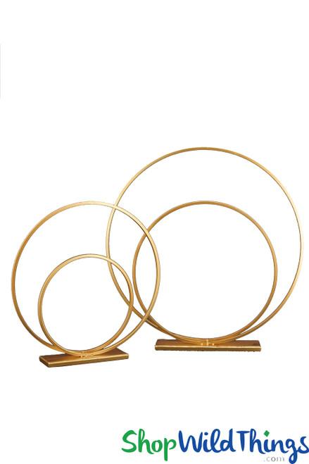"Floral Builder Set ""Fern"" Gold Circles - Floor & Centerpiece Risers 22"" & 30"""