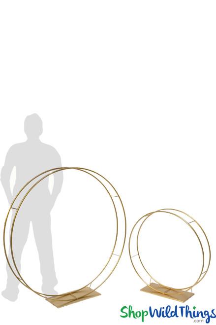 """Floral Builder 2 Pcs Set """"Lotus"""" Gold Circles - Floor & Centerpiece Risers 32"""" & 47"""""""