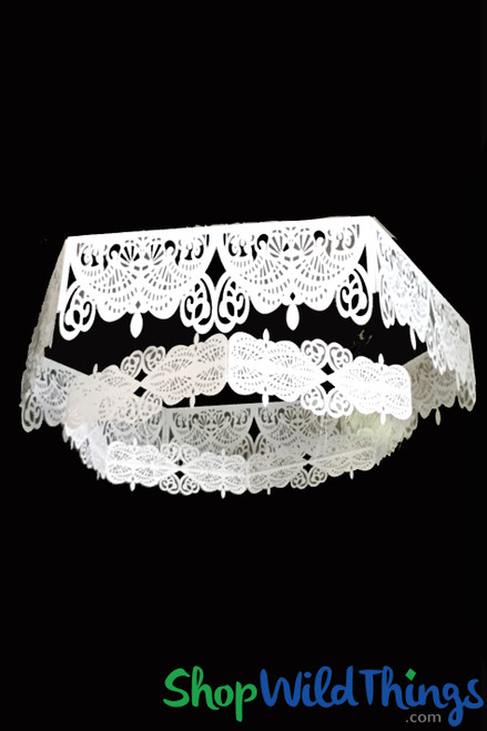 "Ceiling Decoration Set ""Araminta"" White Metal Framework 3 Feet & 4 Feet"