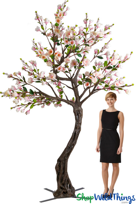 Flowering Artificial Magnolia Tree - 10' Tall - Pink & White