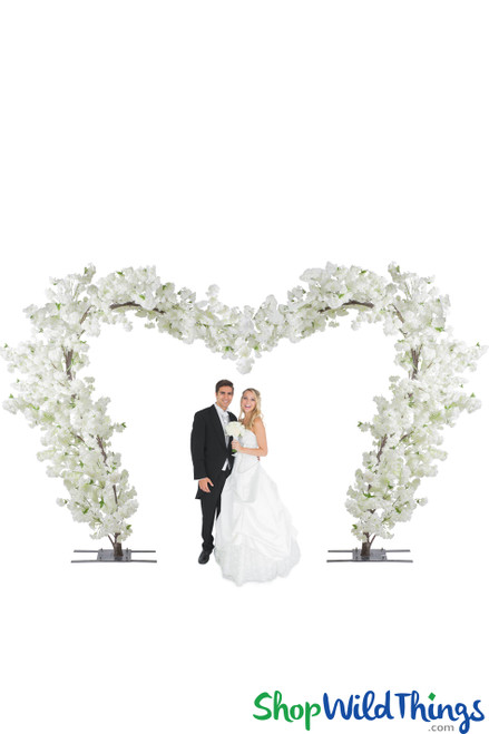 Flowering Dogwood Tree Wedding Heart Arch - 10' Tall x 15' Wide - Cream