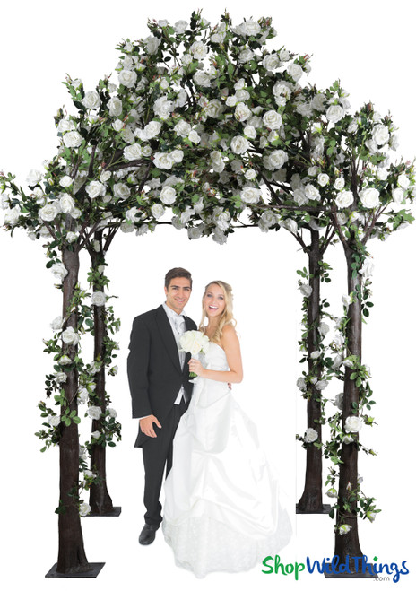 Greenery Gazebo with White Roses, Wedding Arbor Portable ShopWildThings.com