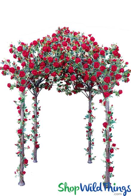 "30% off PLUS 25% off! ""Enchanted Garden"" Real Look Real Feel Flowering Red Rose Gazebo - HUGE OFFER!"