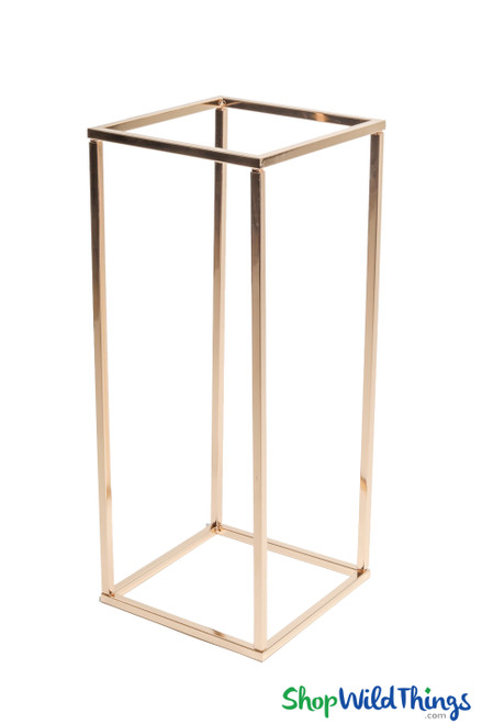 """Floral & Centerpiece Rectangle Riser Stand """"Mia"""" Shiny Metallic Gold 24"""""""