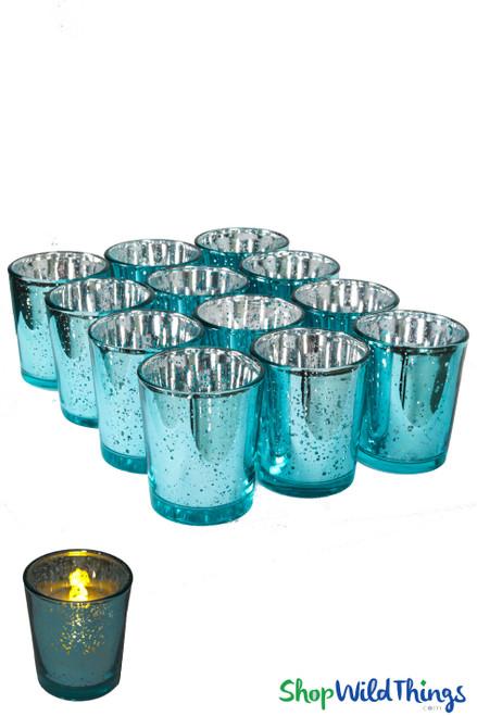 "Mercury Glass Candle Holders ""Josie"" Blue  Set of 12"