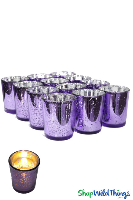 "Mercury Glass Candle Holders ""Josie"" Purple  Set of 12"