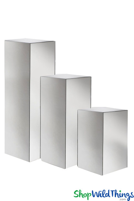 Floral & Centerpiece Riser  Mirrored Acrylic Pedestal Stands  Set of 3 Plinths