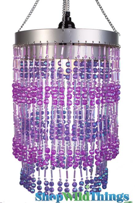 "Chandelier  ""Ashley""  2-Tier Hanging Lamp, Purple 8 1/2"" x 12"""