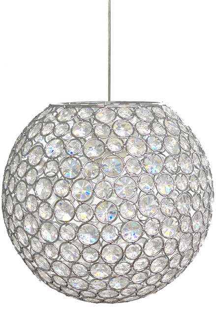 Chandelier Crystal Beaded Jeweled Sphere w/Light Kit - 10""
