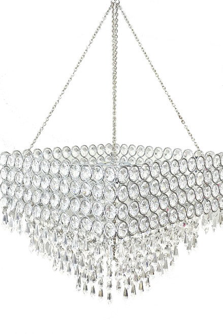 "Chandelier Square Crystal Beaded 4-Tier 12"" x 12"""