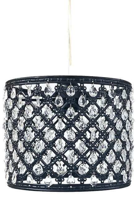 "Chandelier Black Drum with Crystal Beads & Light Kit 8"" x 6.5"""