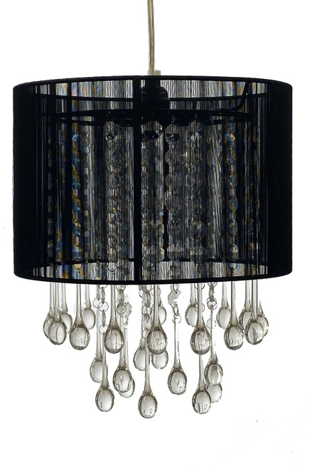 "Chandelier ""Olivia"" Black String Shade & Crystal Pendants w/Light Kit 12"" x 13"""