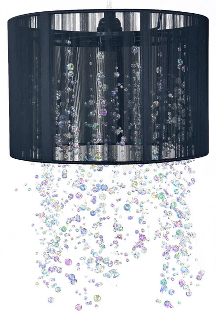 "Chandelier Black String Shade & Iridescent Crystals w/Light Kit 12"" x 18"""