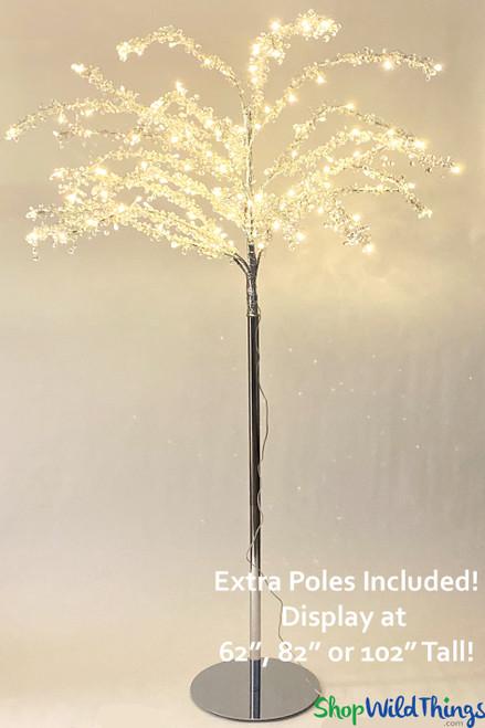 "Crystal Beaded Warm White LED Tree ""Enchantment"" Adjustable up to 8.5'"