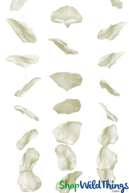 "Large Hanging Rose Petals Garland Set Of 3 - Cream - Each Strand 7 1/2"" x 5 1/2' Long"