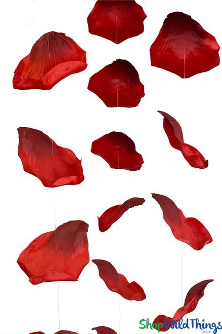 "X-Large Hanging Rose Petals Garland Set Of 3 - Red - Each Strand 10 1/2"" x 6 1/2' Long"
