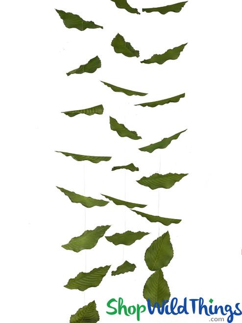 "Rose Leaf Garland Set Of 3 - Green - Each Strand 8"" x 5' Long"