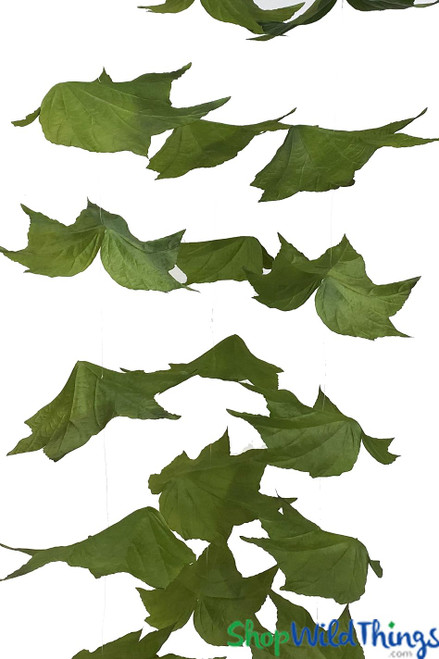 "Maple Leaf Garland Set Of 3 - Green - Each Strand 9.5"" x 5.5' Long"