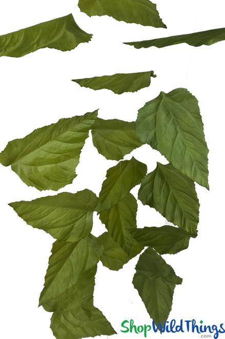 "Large Sunflower Leaf Garland Set Of 3 - Green - Each Strand 9 1/2"" x 6' Long"