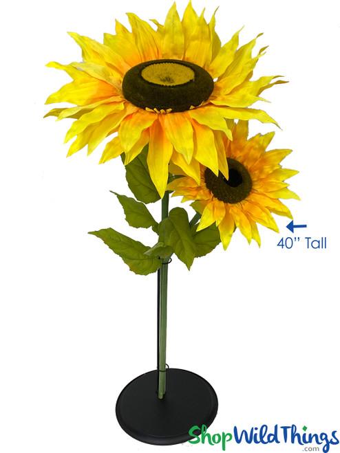 "Oversized Medium Silk Sunflower w/Removable Stem - 12"" x 40"" Tall"