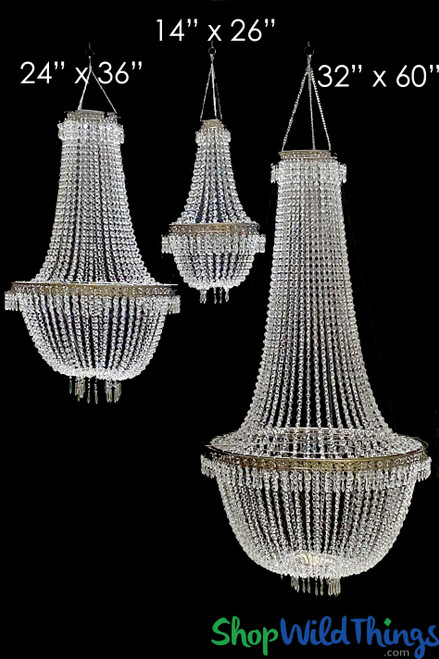 "Chandelier ""Tillie Large"" 24""W x 36""L Acrylic Crystal Beads & Ornate Metal Trim"