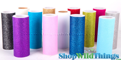 """Tulle Roll w/Iridescent Glitter, Baby Pink 6"""" x 10 yds"""