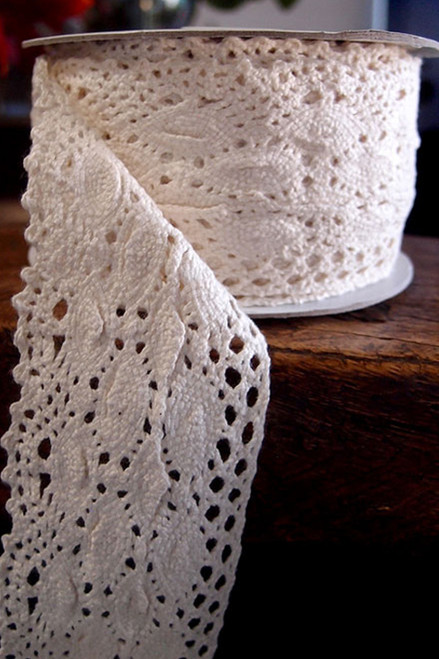 "Crochet Lace Ribbon - 2 1/4"" Wide x 10 Yards Long - Ecru"